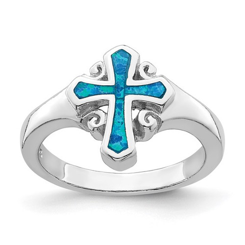 Serbian 4C's Cross Ring: Sterling Silver with Opal Cross