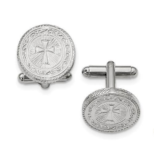Silver Tone Cross Cuff Links