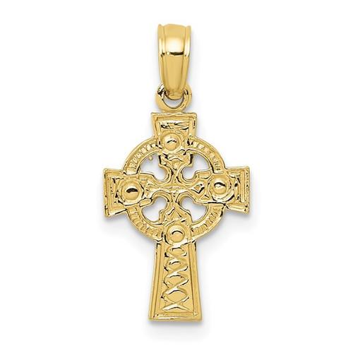 10KT Diamond-Cut Celtic Cross Pendant (Engravable)