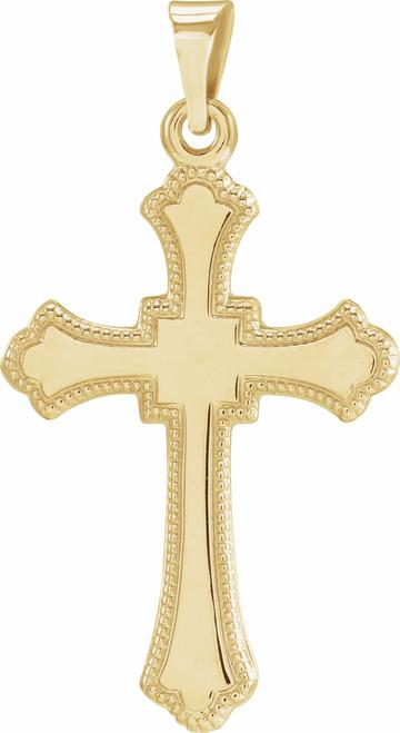"14K Yellow Gold Cross Pendant (Engravable)- 7/8"""