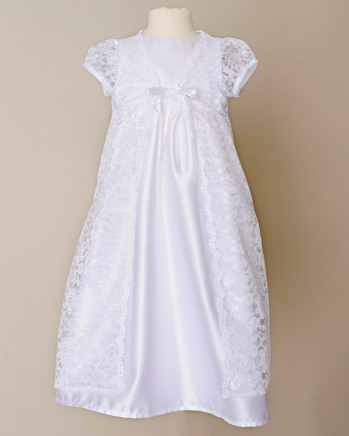 """24"""" Violet Baptism Gown with Hand Embroidery"""