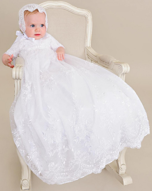 Lillian Baptism Gown with Hand Embroidery- Toddler Sizes