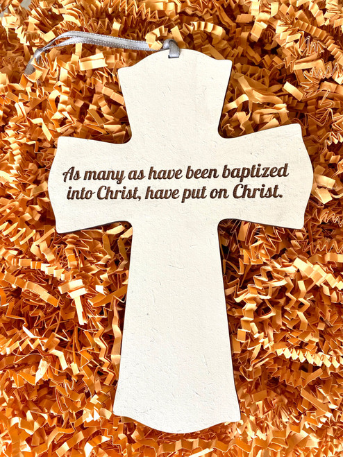 """5 x 7"""" Orthodox Baptismal Cross Ornament- Personalization Available"""