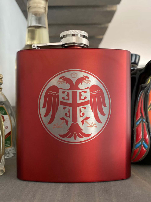 Stainless Steel Serbian Grb Flask - Multiple Colors