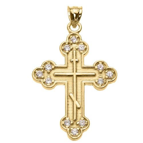 """14K Yellow Gold CZ Byzantine Cross- 1 1/8""""- ON SALE!"""