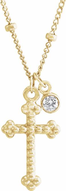 """14KT Yellow Gold .06 CT Genuine Diamond Dangle & Beaded Cross & 20"""" Chain- 7/8"""""""