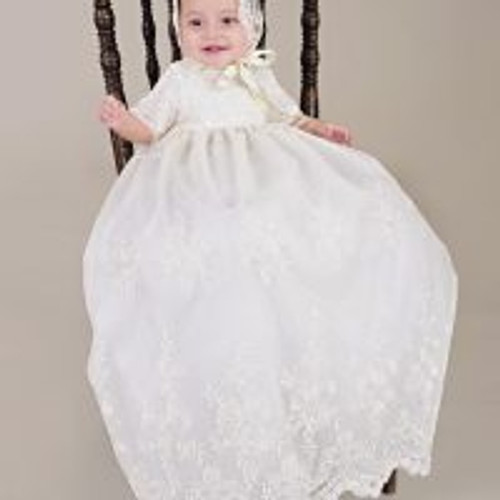 Embroidered Lace Memory Infant Baptismal Gown