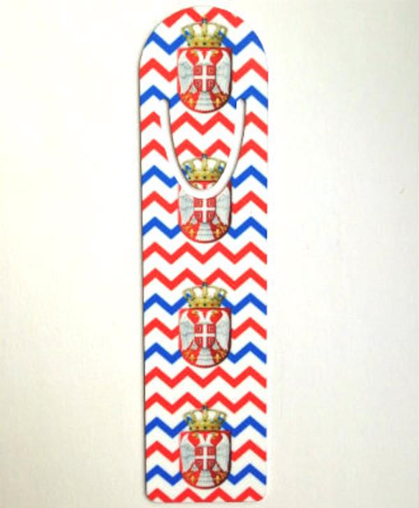 Printed Metallic Bookmark: Serbian Chevron Grb Design