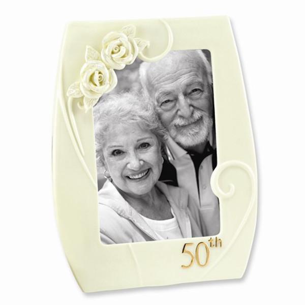 50th Wedding Anniversary Pearl Rose Photo Frame