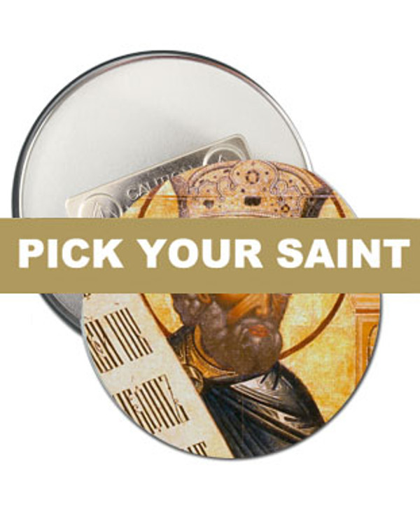 """Pick-Your-Saint Round Icon 2 1/4"""" Clothing Magnets:  Set of 100"""