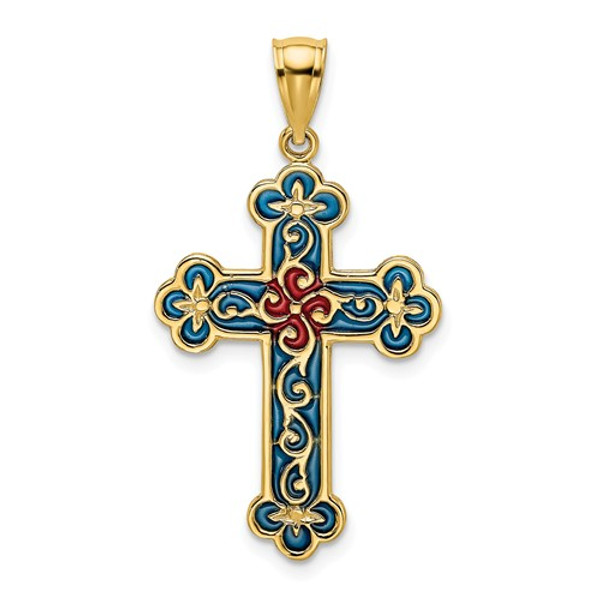 """14KT Gold Blue and Red Byzantine Cross Charm- 1"""""""