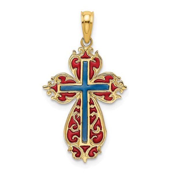 14KT Yellow Gold Cut-Out Scroll Framed Enameled Cross Charm