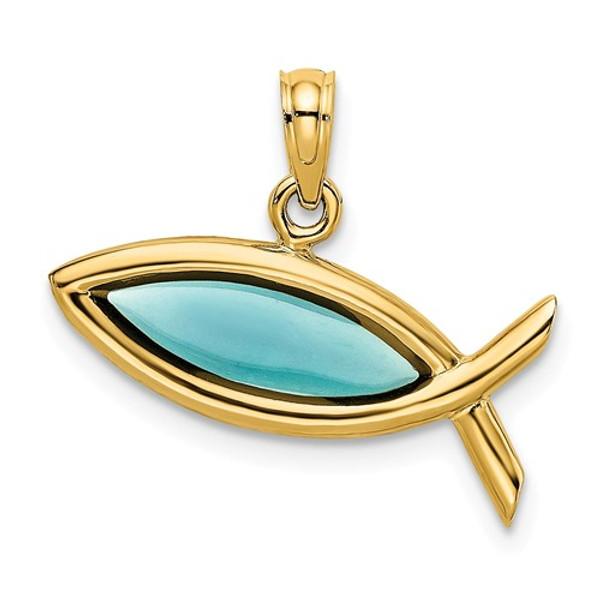 14KT Gold Blue Enameled Ichthus Charm