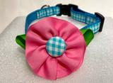 Dog Collar-Aqua Check/Pink Flower
