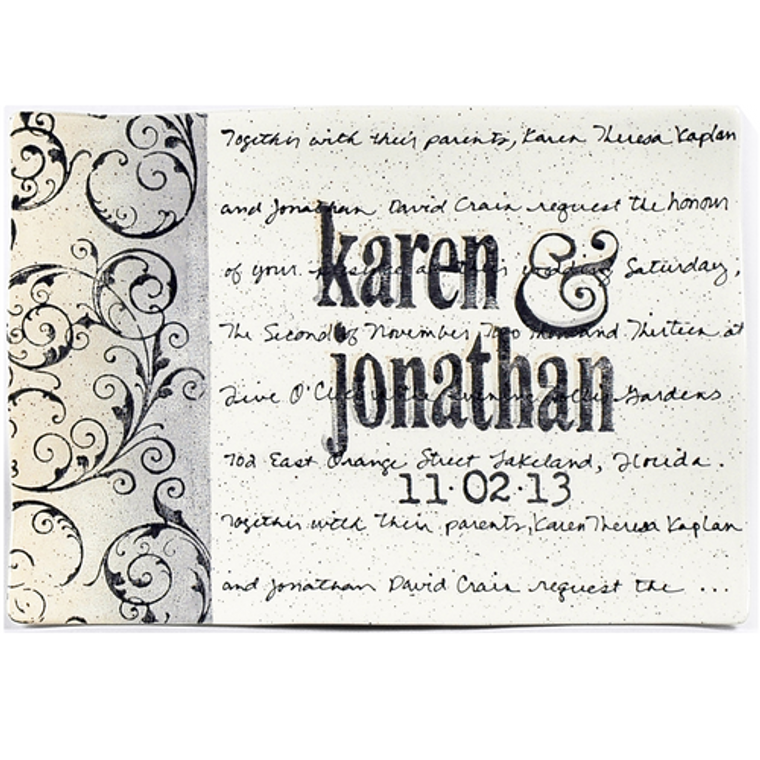 scroll personalized wedding invitation platter