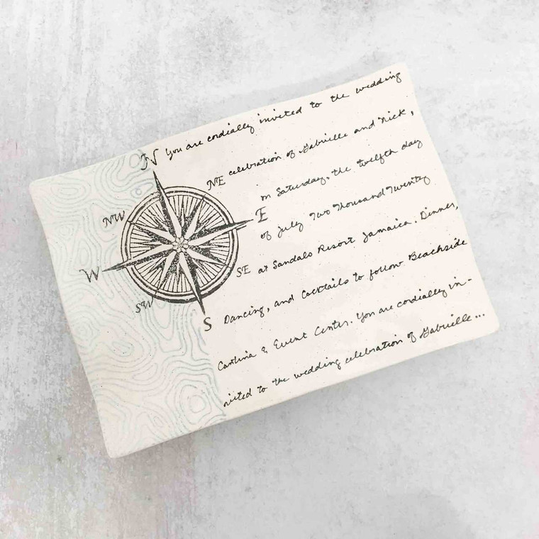 Compass Rose Nautical Wedding Invitation Platter