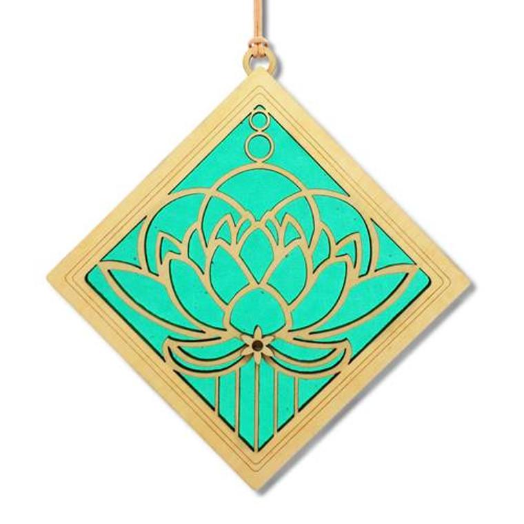 "Lotus Blossom Suncatcher-Emerald- 6"""