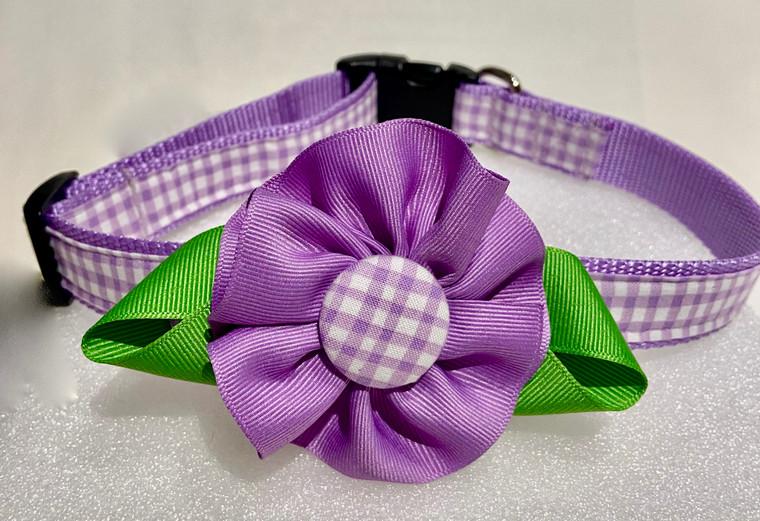 Dog Collar-Lilac Check Flower