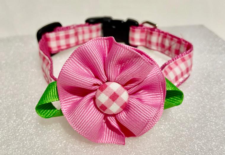 Dog Collar-Bubblegum Pink Check Flower