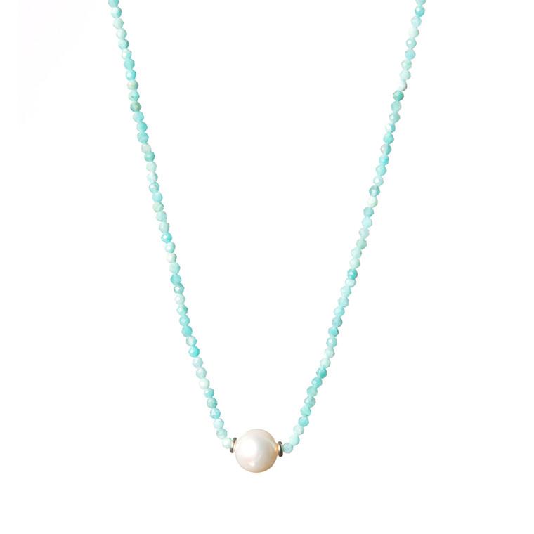Freshwater Pearl Necklace-Amazonite