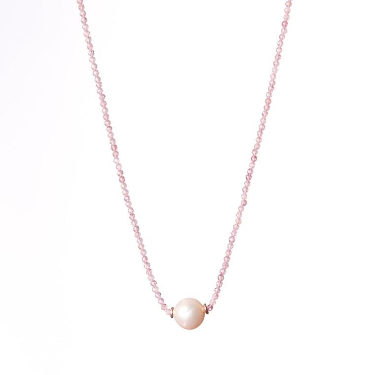 Freshwater Pearl Necklace-Cherry Quartz