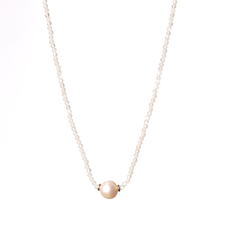 Freshwater Pearl Necklace-Moonstone