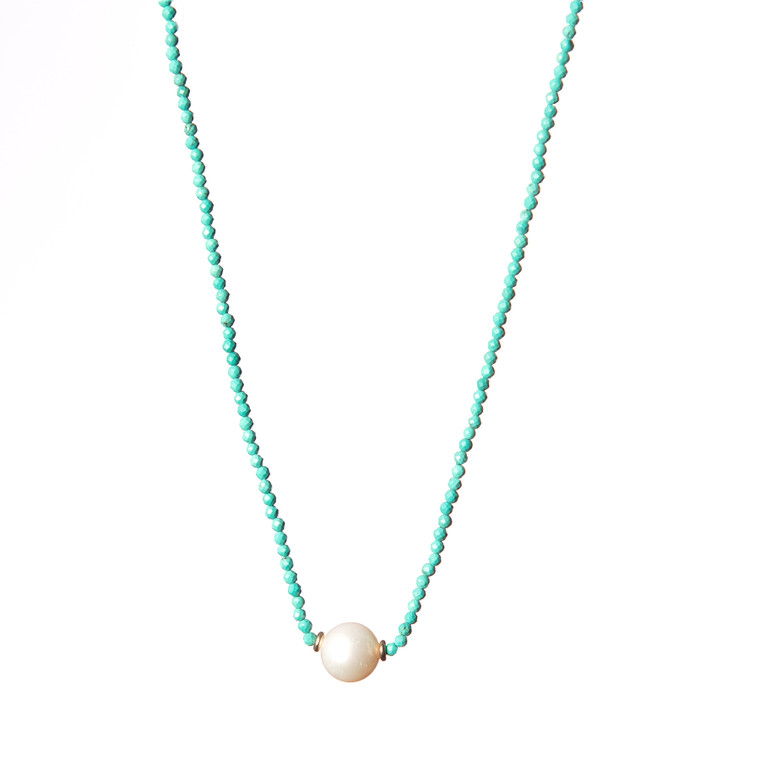 Freshwater Pearl Necklace-Turquoise