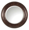 Leonzio Leather Frame Decorative Round Wall Mirror