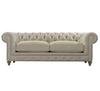 "Cigar Club 90"" Beige Linen Upholstered Chesterfield Sofa"