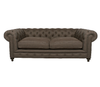 """Brown Cigar Club 90"""" Linen Upholstered Chesterfield Sofa"""