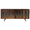 Berlin Reclaimed Wood 4 Door Console with Antiqued Mirror