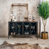 Aged Black Metal Media Console Sideboard