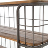 Industrial Style 3 Tier Rustic Iron Wood TV Console on Wheels