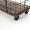 Industrial Style 3 Tier Rustic Iron Wood Console Table on Wheels