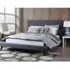Nixon Mid-Century Modern Grey Linen King Bed frame
