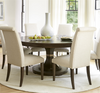 California Rustic Oak round expandable dining table