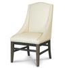 French Brown Oak Nailhead Fabric Dining Arm Chair