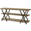 French Industrial Oak Wooden Metal Media Console Table