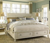 Country-Chic Wood Bedroom Queen Size White Storage Bed Frame