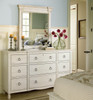 Country-Chic Maple Wood Dresser Mirror, White