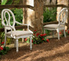 Country-Chic Maple Wood  Pierced Back White Dining Chairs for sale