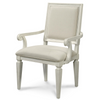 Country-Chic Woven Rattan Back Upholstered Dining Armchairs