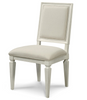Country-Chic Woven Back Upholstered Dining Side Chair, White Wood