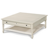 Country-Chic White Wood Square flip top coffee table