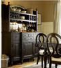 Country-Chic Maple Wood Black Kitchen Buffet with Bar Hutch