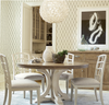 French Modern White Wood Pedestal Round Kitchen Table for sale