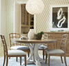 French Modern White Wood Pedestal Round Dining Room Table