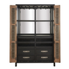 French Modern Industrial Vintage Bar Cabinet with metal doors