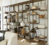 French Modern Industrial Wood + Metal Geometric Livingroom Bookcase Etagere