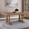 """Salvaged Distressed Wood Double Pedestal Trestle Dining Table 76"""""""